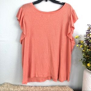 BP ribbed flutter ruffle sleeve tee shirt salmon
